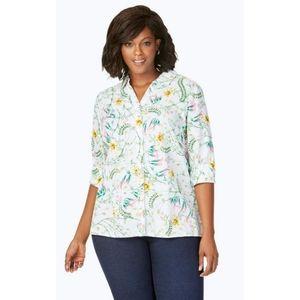 Foxcroft Cotton Maria Winding Botanical Button Top